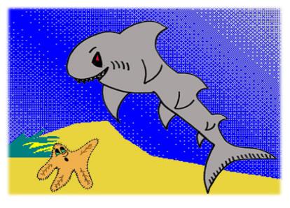 cuento: Rufi, una estrella de mar diferente - con el tiburón