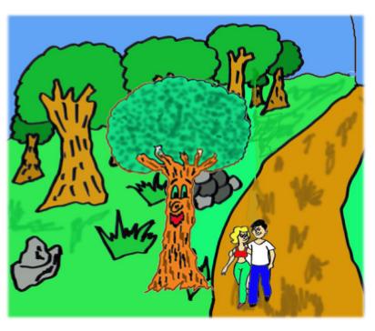 cuento: Pepo, el árbol bromista - una pareja de novios