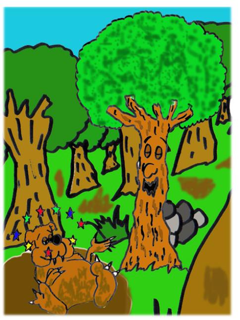 cuento: Pepo, el árbol bromista - arroja al oso al barro