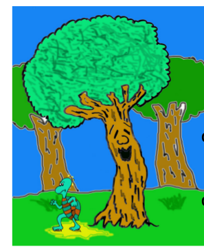 cuento: Pepo, el árbol bromista - unta a la tortuga de resina