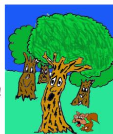 cuento: Pepo, el árbol bromista - asustan a Pepo