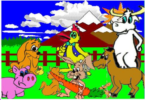 cuento; Jito, el conejo y el gigante - con los animales de la granja