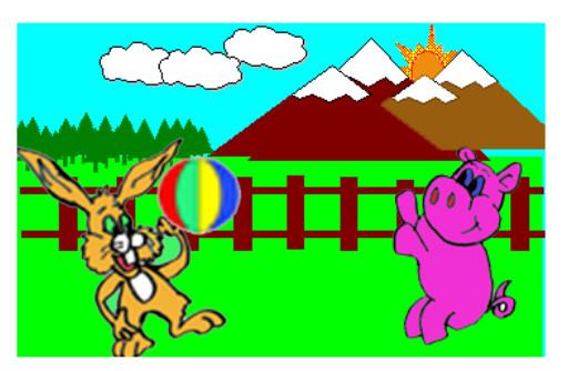 cuento; Jito, el conejo y el gigante - jugando a la pelota