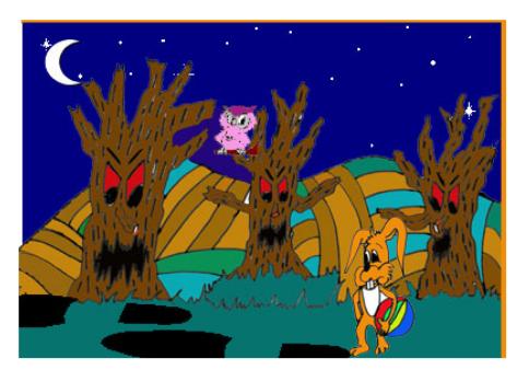 cuento; Jito, el conejo y el gigante - perdido en el bosque