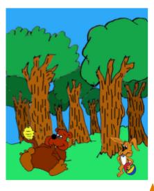 cuento; Jito, el conejo y el gigante - se encuentra a un oso