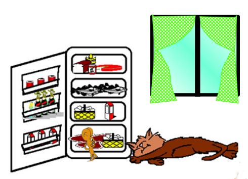 cuento: Bruno, el ratón astuto - comida del frigorífico