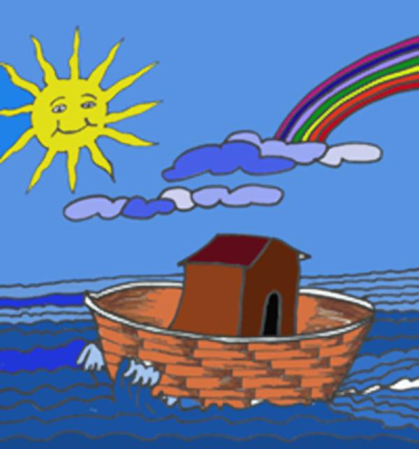 Un barco en el mar y el arco íris al fondo