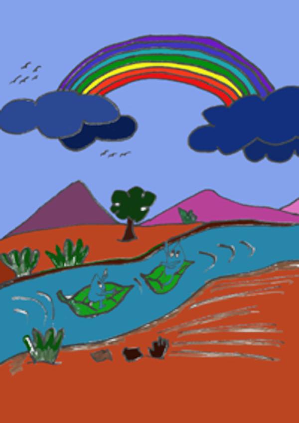 Rio de agua en un paisaje frondoso donde van Goti y Tita viendo el Arco Íris.