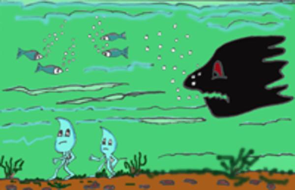 Goti y Tita junto a peces en el mar contaminado